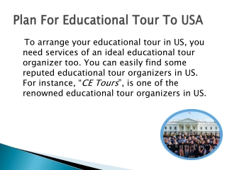 Plan For Educational Tour To USA