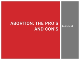Abortion: the Pro's and Con's