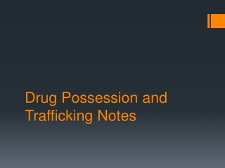Drug Possession and Trafficking Notes