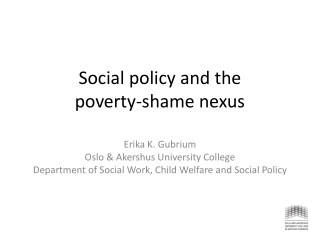 Social  policy and  the poverty-shame nexus