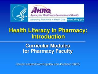 Health Literacy in Pharmacy: Introduction