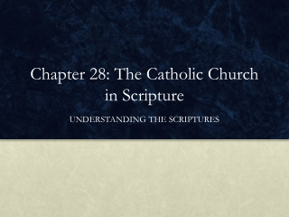 Chapter 28: The Catholic Church in Scripture