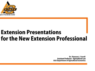 Extension Presentations for the New Extension Professional