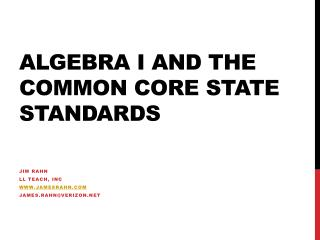 Algebra I and the Common Core State Standards
