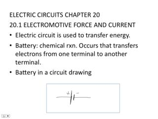 ELECTRIC CIRCUITS CHAPTER 20 20.1 ELECTROMOTIVE FORCE AND CURRENT Electric circuit is used to transfer energy.