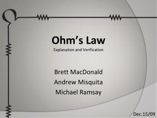 Ohm's Law Explanation and Verification