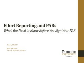 Effort Reporting and PARs What You Need to Know Before You  Sign Your PAR