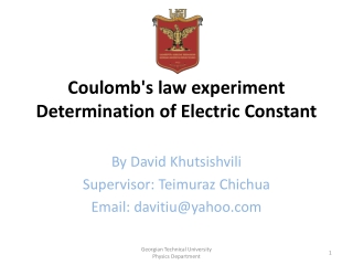 Coulomb's law experiment  Determination of Electric Constant