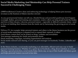 social media marketing and mentorship can help personal trai