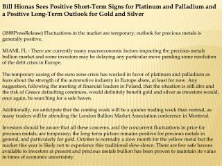 bill hionas sees positive short-term signs for platinum and