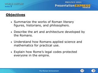 Summarize the works of Roman literary figures, historians, and philosophers. Describe the art and architecture developed