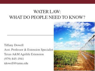 water LAW:   What Do People Need To Know?