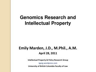 Genomics Research and  Intellectual Property