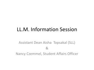 LL.M. Information Session