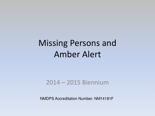 Missing Persons and Amber Alert