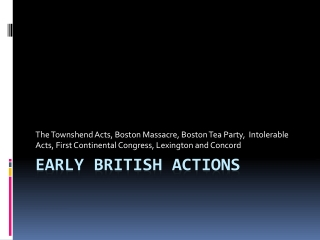 Early British Actions
