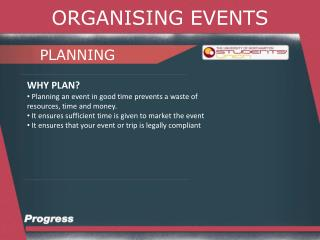 ORGANISING EVENTS