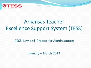 Arkansas Teacher  Excellence Support System (TESS)  TESS  Law and  Process for Administrators January – March 2013