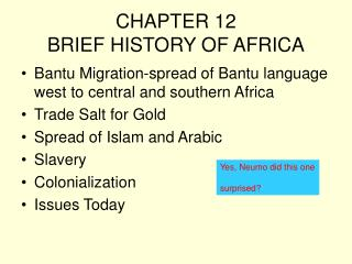 CHAPTER 12 BRIEF HISTORY OF AFRICA