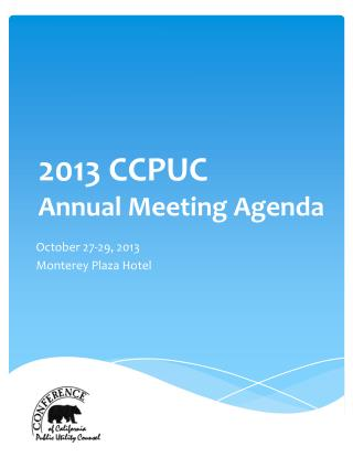 2013 CCPUC  Annual  Meeting Agenda