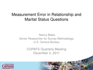 Measurement Error in Relationship and Marital Status Questions