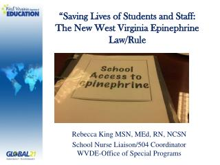 Rebecca King MSN, MEd, RN, NCSN School Nurse Liaison/504 Coordinator WVDE-Office of Special Programs