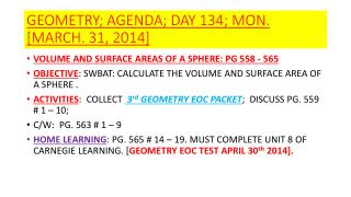 GEOMETRY; AGENDA; DAY 134; MON.  [MARCH. 31, 2014]
