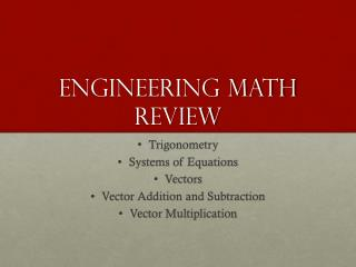 Engineering math Review