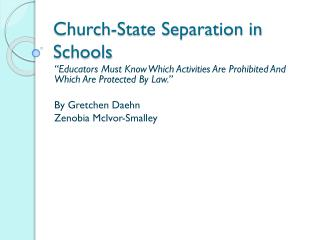 Church-State Separation in Schools