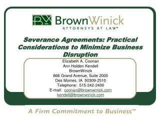 Severance Agreements: Practical Considerations to Minimize Business Disruption