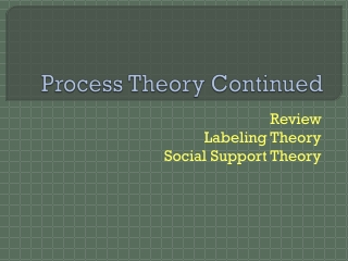 Process Theory Continued