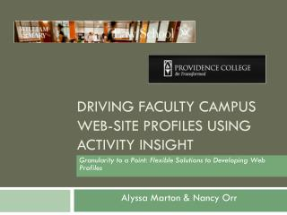 Driving Faculty Campus Web-site Profiles Using Activity Insight
