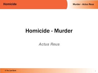 Homicide - Murder