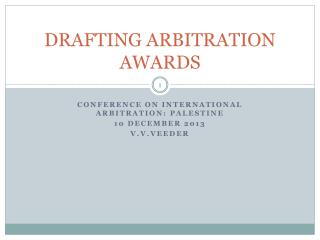 DRAFTING ARBITRATION AWARDS