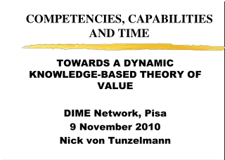 COMPETENCIES, CAPABILITIES AND TIME