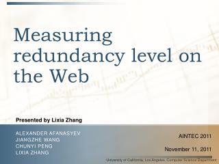 Measuring redundancy level on the Web