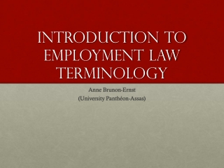 Introduction to  employment law Terminology