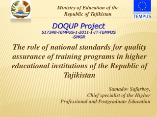 The role of national standards for quality assurance of training programs in higher educational institutions of the Repu