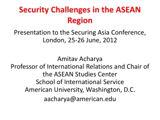 Security Challenges in the ASEAN Region