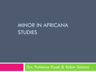 Minor in Africana Studies