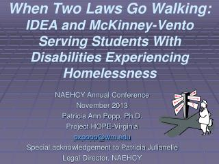 When Two Laws Go Walking: IDEA and McKinney-Vento Serving Students With Disabilities Experiencing Homelessness