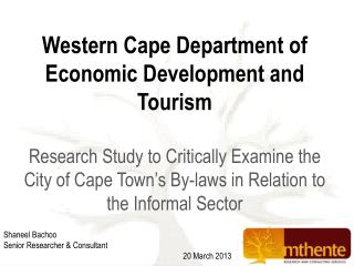 Western Cape Department of Economic Development and Tourism