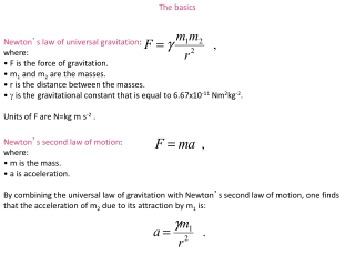 Newton ' s law of  universal gravitation : where:  F is the force of gravitation.  m 1  and m 2  are the masses.  r is