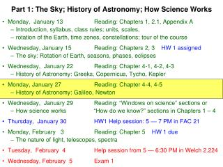 Part 1: The Sky; History of Astronomy; How Science Works