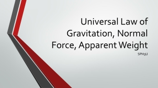 Universal Law of Gravitation, Normal Force, Apparent Weight