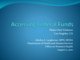 Accessing Federal Funds