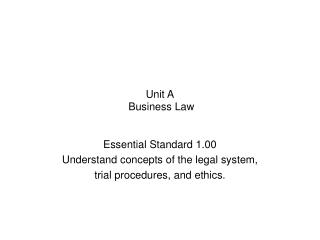 Unit A  Business Law