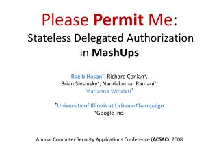 Please  Permit  Me :  Stateless Delegated Authorization  in  MashUps