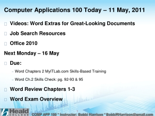 Computer Applications 100 Today – 11 May, 2011