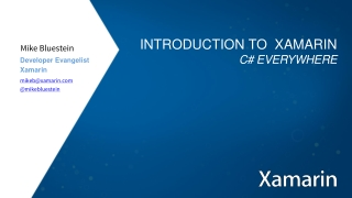Introduction to  Xamarin C # Everywhere